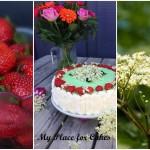 Fødselsdagslagkage med hyldeblomst og jordbær