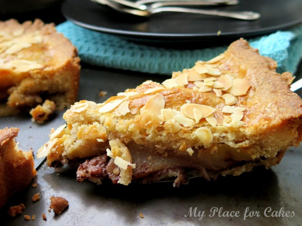 æble-pæretærte med chokolade